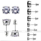 18K White Gold Plated Round Cubic Zirconia CZ Crystal Ear Stud Earrings 3-10mm