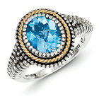 Blue Topaz Ring Oval Cut Sterling Silver w/ Gold Accent Size 6-8 Shey Couture