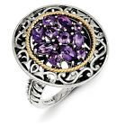 Amethyst Flower Ring .925 Sterling Silver w/ Gold Accent Size 6-8 Shey Couture