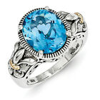 Blue Topaz Fleur De Lis Ring Silver & Gold Accent Antiqued Size 6-8 Shey Couture