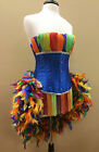 Moulin Carnival Feather Rainbow/Showgirl/Burlesque Pin Up Mardi Gras Costume