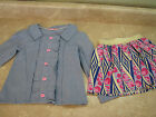 NWOT Charlee Madison BLUE CHAMBRAY RUFFLE SHIRT/TOP & TWIRL SKIRT Outfit/Set 3T