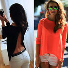 Summer Women loose backless T shirt tops fashion lady new casual club blouse