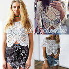 New Sexy Women Sheer Sleeve Lace Hollow Crochet Crop Top Tee Shirt Casual Blouse