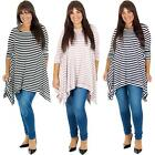 Womens Ladies Italian Lagenlook Quirky Crew Neck Stripe Top Dress Plus Size L XL
