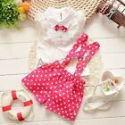 Baby Girl Hot Pin Clothing Set Polka Dot Overalls+ Top Shirt 2 Pcs Outfit 12M-3T