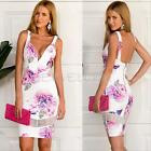 Sexy Womens Bodycon Summer V-Neck Floral Evening Party Cocktail Sexy Mini Dress