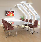 Sven Ambus Glass Conference Boardroom Meeting Table Metal Legs Finish Choice 5M