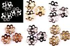 500Pcs Silver/Gold/Nickel/ Plated Metal Flower Shaped Bead Caps 6mm