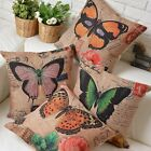 Vintage Colorful Butterfly Pillow Case Sofa Decor Cushion Cover Square Linen 17""