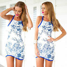 Summer Women Zipper Back Sundress Beach Floral Bodycon Slim Fit Mini Party Dress