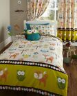 WOODLAND CREATURES OWLS HOOT FOX GREEN TREES KIDS DUVET QUILT COVER BEDDING SET