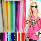 Multi Color Women Long Straight Synthetic Clip in on Hair Extensions Piece 24""