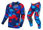 NEW 2016 TROY LEE DESIGNS SE AIR COSMIC CAMO MX GEAR COMBO BLUE ALL SIZES