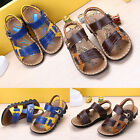 2015 Summer Baby Kids Boy Shoes Oxford Cow Leather Gladiator Beach Soft Sandals