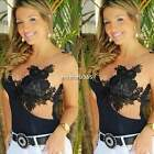 Women's Bodysuits Sleeveless Lace Bodycon Tank Tops Leotard Jumpsuits Vest N4U8