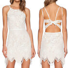 Sleeveless Sexy Off White Lace Backless Guava Shift Party Evening Mini Dress