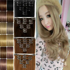 Real Thick Long 8 Pieces Clip In Hair Extensions with 10% human hair black brown