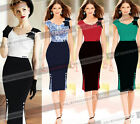 Women Elegant Vintage Colorblock Party Cocktail Evening Mermaid Wiggle Dress 607