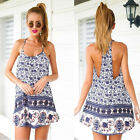 Sexy Women Casual Sleeveless Elephant Print Party Beach Mini Dress Trusty HOT