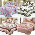 Floral Patchwork Quilted Bedspread Coverlet Throw Blanket Rug Queen/king Size