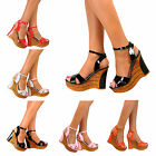 New Women's Fashion High Heel Wedge Ankle Strap Sandal Platform Open Toe Pumps