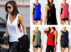 Womens Baggy Drop Arm Plain Sleeveless Tank Top Ladies Casual Vest Gym Top 16-22