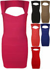 New Womens Bandage Bodycon Cut Out Back Ladies Sleeveless Mini Party Dress 8-14