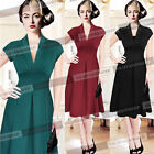 Womens Vintage Rockabilly Ruched Party Evening Swing Flare Skater Tea Dress 903