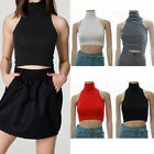 Sexy Women Summer High-Neck Crop Top Tank Tops Casual Shirt Vest Blouse EW UK W