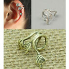 Popular Unique Punk Style Plated Bronze Silver Leaf Leaves Lady Ear Clip Earring