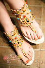 Womens lady Gladiator Flip Flops Thong Open Toe Rhinestone Sandal Roman Shoes SZ