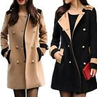 Camel/Black Women Double Breasted Lapel Long Trench Coat Jacket Outwear Top M