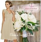ASHA Champagne Cappuccino Taupe Knee Length  Chiffon Bridesmaid Dress UK 6 - 18