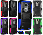 For LG Escape 2 Combo Holster HYBRID KICK STAND Rubber Case Phone Cover