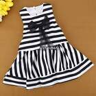 2-7Y Kids Baby Girls Lace Bow-knot Sleeveless Tutu Dress Striped Gauze Dress N4U