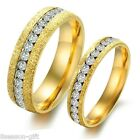 Stainless Steel Gold Plated Crystal Rings Couple Lover Gift Engagement Band Chic
