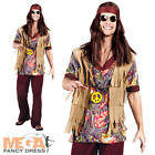 1960s Hippy Mens Fancy Dress Retro Groovy 60s Hippie Adults Costume Outfit New