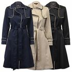 Ladies Coat Womens Jacket Trench Military Overcoat Long BELT Lined Winter New