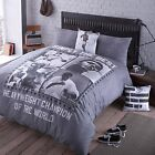 BOXING HERO DUVET COVER MUHAMMAD ALI LEGENDS WORLD CHAMPION BEDDING BED SET GREY
