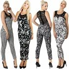 New Ladies Womens Italian Jumpsuit Paisley & Dog Tooth Print Lace Top S M L XL