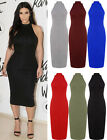 Womens Plain Halter Bodycon Midi Dress Ladies Sleeveless Turtle Neck Dress 8-22