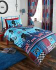 BMX DUVET COVER STUNT RALLY BIKE QUILT COVER BEDDING SET CURTAINS SET BLUE RED