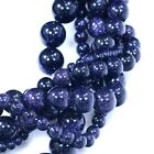 "Blue Gold Stone Round Spacer Loose Beads 15""  4mm, 6mm, 8mm, 10mm"