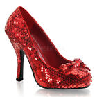 Red Sequins Dorothy Wizard of Oz Ruby Slippers Costume Shoes Heels size 6 7 8 9