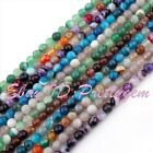 "6mm Round Faceted Stripe Agate Onyx Spacer Gemstone Beads Strand 15"" Pick Color"
