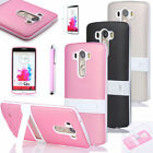 Slim Clear TPU Shockproof Matte Armor Stand Case Cover For LG G3 Phone&Protector