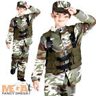 Army Soldier + Hat Boys Fancy Dress Military Camo Uniform Kids Childs Costume