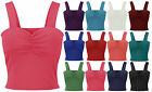Ladies Strappy Padded Bra Crop Top Womens Plain Ponte Gathered Vest Sizes 8-14