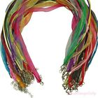 Wholesale Lots 10/20/100Pcs Organza Ribbon Cord Necklace Lobster Clasp Chain DIY